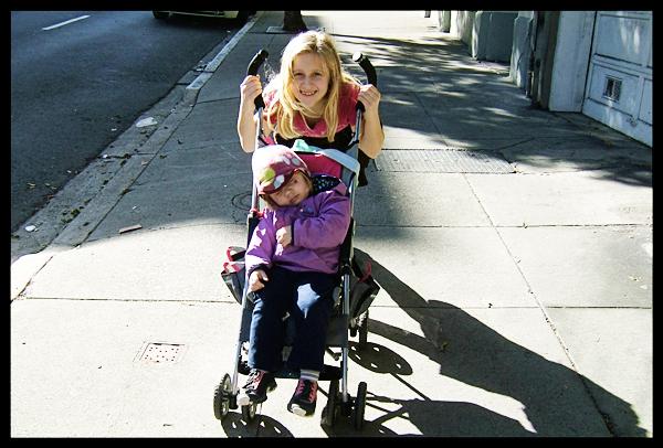 Audrey Pushing Nathalie Down Sutter Street