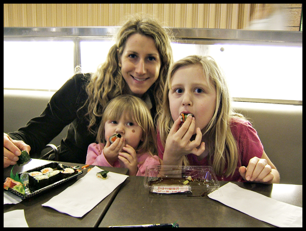 Eating Sushi in the Westfield Mall SF