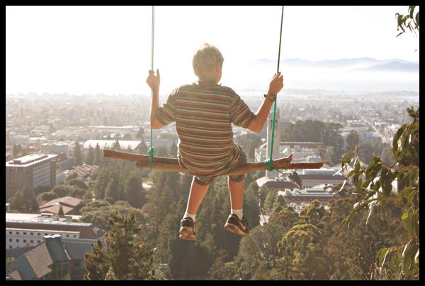 Quinn Swinging in the Berkeley Hills