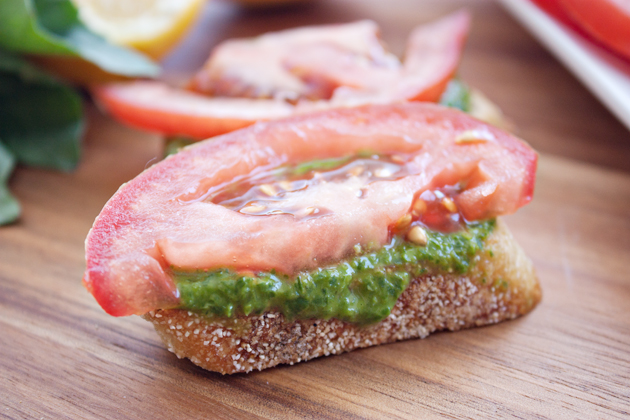 Dairy Free Nut Free Pesto Toast with Tomato
