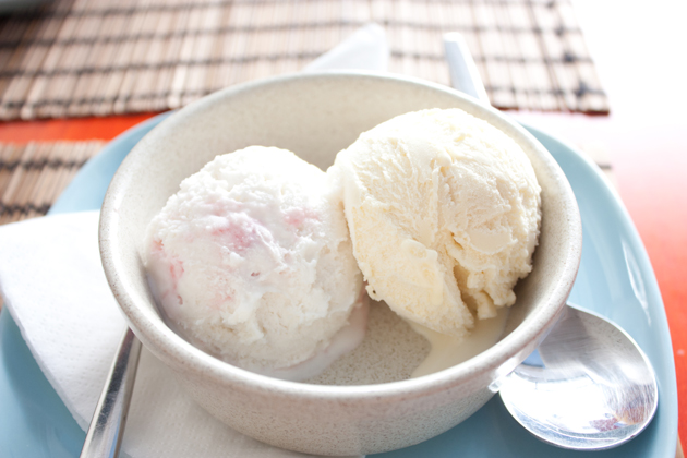 Raspberry and French Vanilla Soy Ice Cream