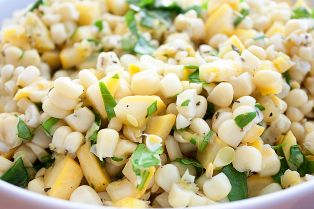 Summer Squash Corn Watercress Salad with Thyme