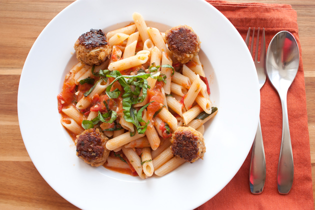 Heirloom Tomato Penne with Veggie Meatballs