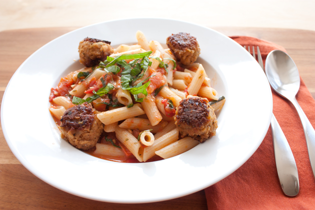 Heirloom Tomato Penne with TVP Meatballs