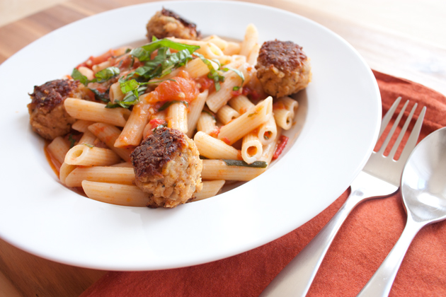 TVP Meatball and Heirloom Tomato Penne