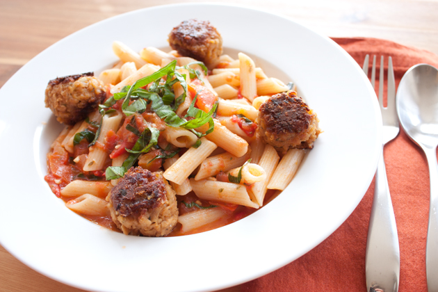 Heirloom Tomato Penne with Vegetarian Meatballs and Basil