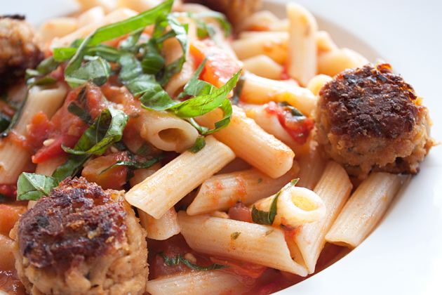 Heirloom Tomato Penne with Vegetarian Meatballs