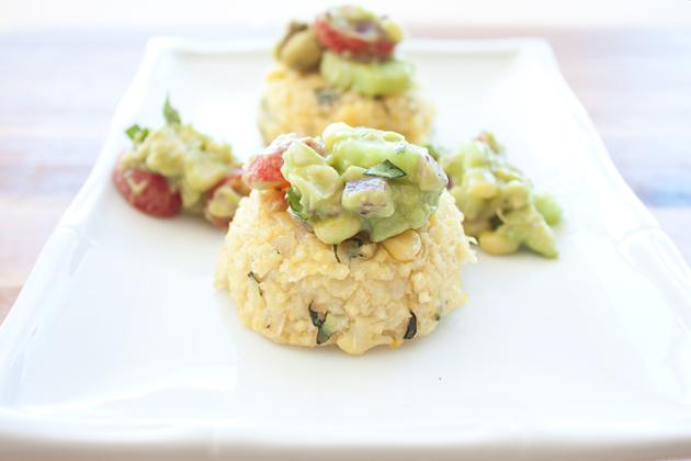 Corn Millet Cakes with Corn Avocado Salsa