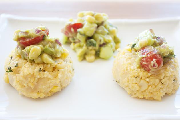 Organic Corn Millet Cakes with Corn Avocado Salsa