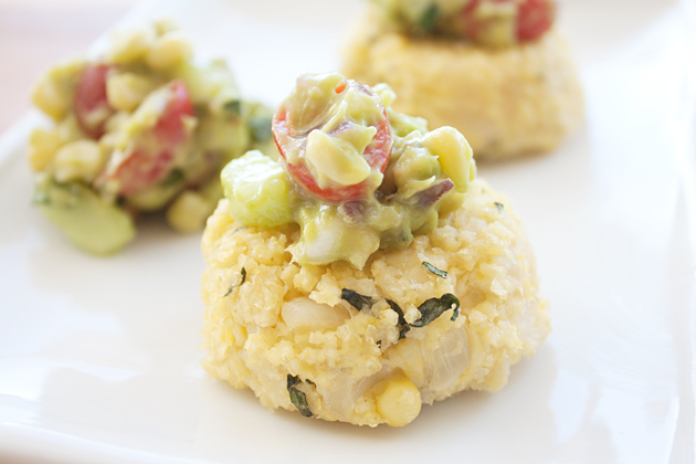 Corn Millet Basil Cakes with Corn Avocado Salsa