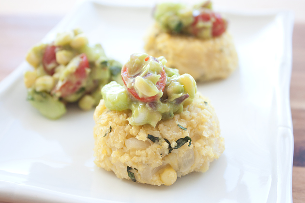 GMO-Free Corn Millet Cakes with Corn Avocado Salsa
