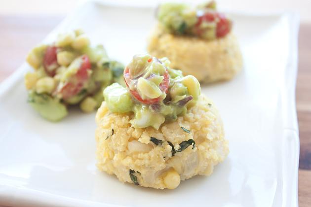 GMO-Free Corn Millet Cakes with Corn Avocado Salsa